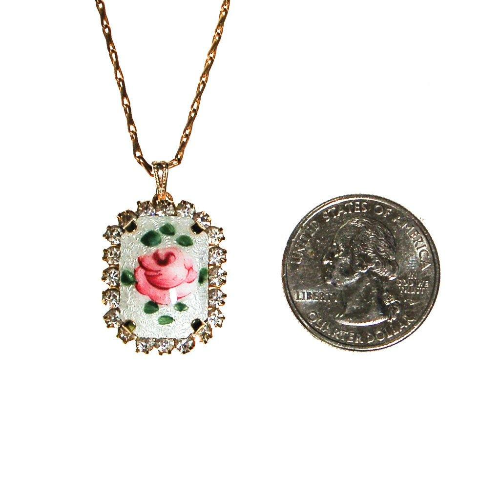 Rose Guilloche and Rhinestone Pendant Necklace - Vintage Meet Modern  - 3