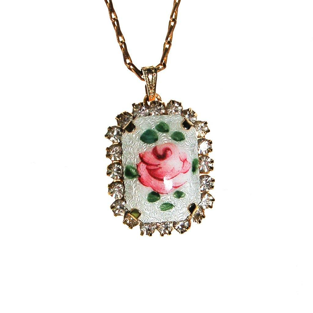 Rose Guilloche and Rhinestone Pendant Necklace - Vintage Meet Modern  - 2