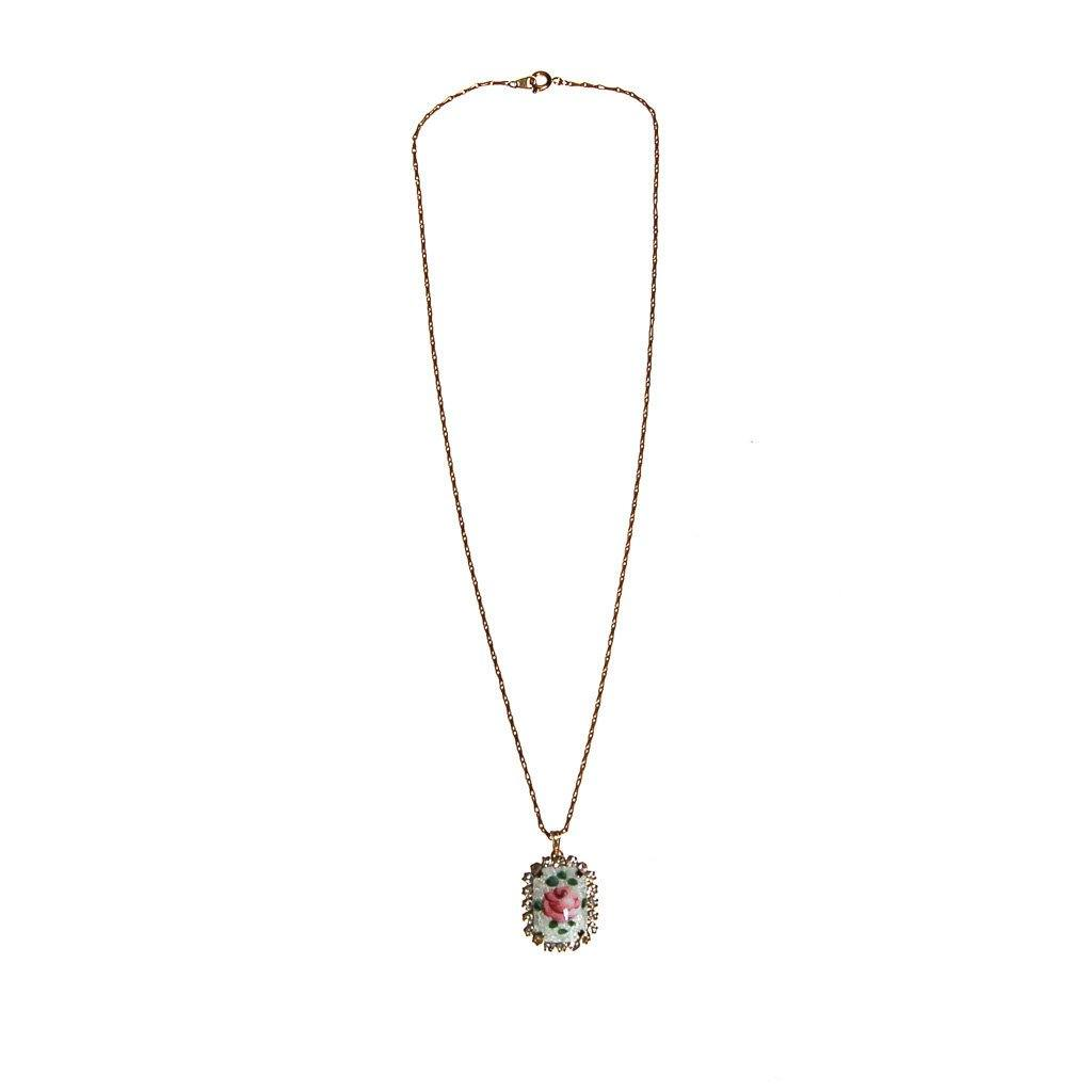 Rose Guilloche and Rhinestone Pendant Necklace - Vintage Meet Modern  - 5