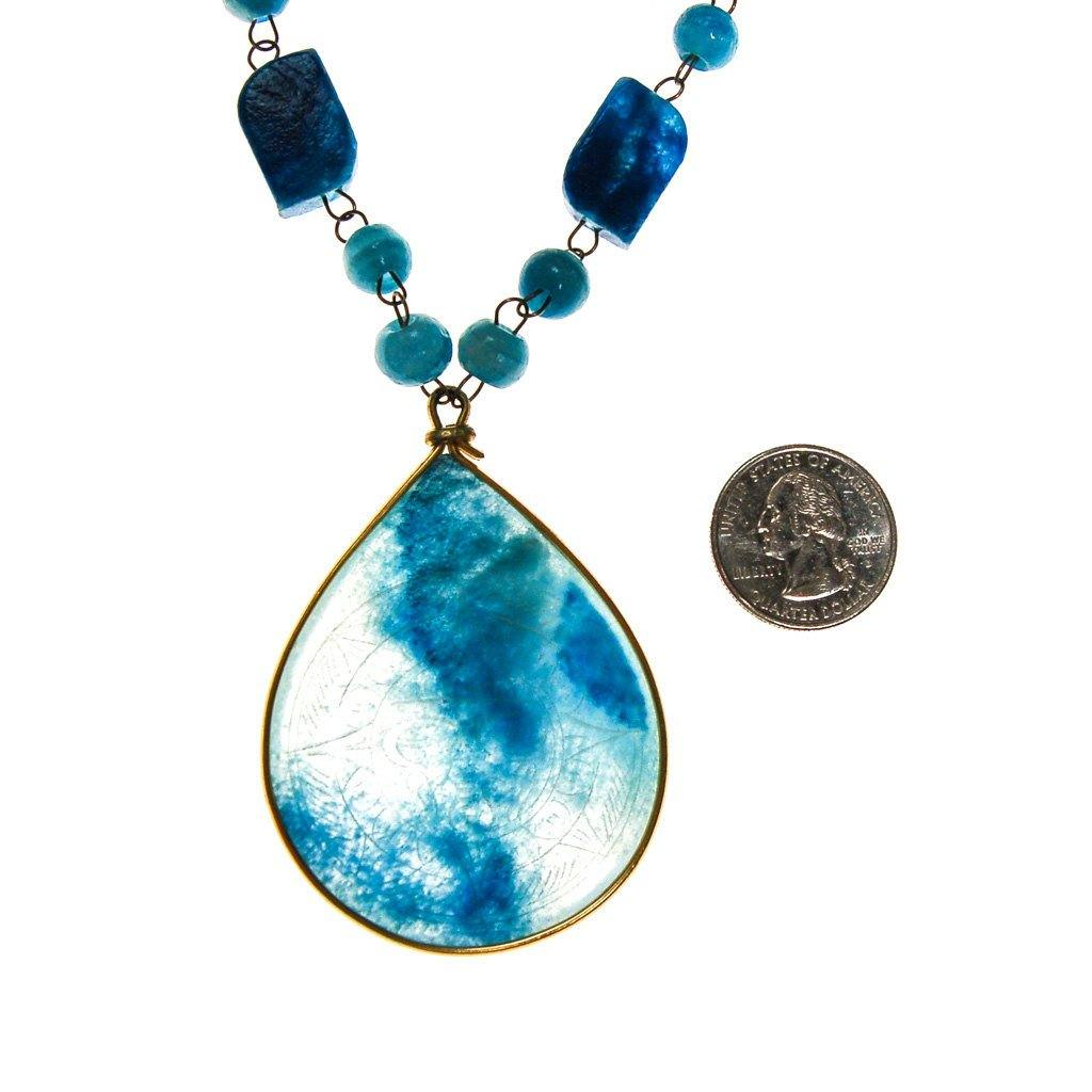 Bohemian Chic Turquoise Agate Sun Goddess Necklace - Vintage Meet Modern  - 3