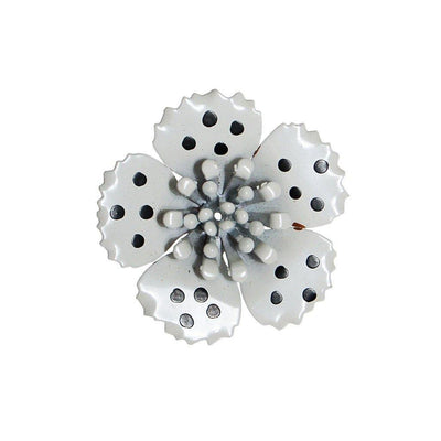 Black and White Polka Dot Enamel Flower Brooch by Unsigned Beauty - Vintage Meet Modern - Chicago, Illinois
