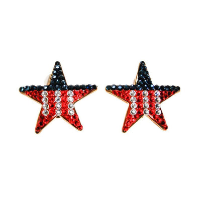 Red, White and Blue Rhinestone Star Earrings by Unsigned Beauties - Vintage Meet Modern - Chicago, Illinois