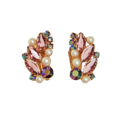 Juliana Purple Rhinestone, Pearl, Aurora Borealis Clip Ear Crawler Earrings by Juliana - Vintage Meet Modern - Chicago, Illinois