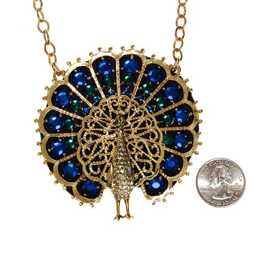 Blue and Green Rhinestone Peacock Statement Necklace by Unsigned Beauty - Vintage Meet Modern Vintage Jewelry - Chicago, Illinois - #oldhollywoodglamour #vintagemeetmodern #designervintage #jewelrybox #antiquejewelry #vintagejewelry
