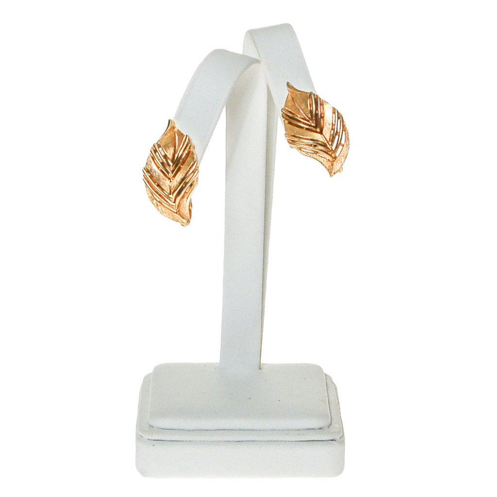 Crown Trifari Gold Leaf Earrings - Vintage Meet Modern  - 1