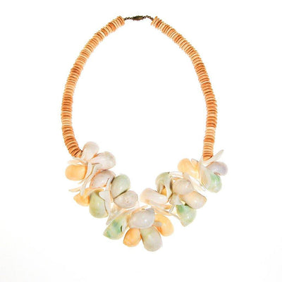Pastel Shells Statement Necklace by Unsigned Beauty - Vintage Meet Modern Vintage Jewelry - Chicago, Illinois - #oldhollywoodglamour #vintagemeetmodern #designervintage #jewelrybox #antiquejewelry #vintagejewelry