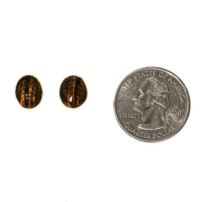 Tigers Eye Scarab Stud Earrings by 1970's - Vintage Meet Modern - Chicago, Illinois