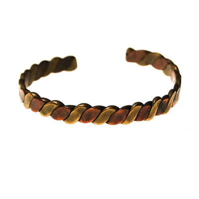 Braided Copper and Brass Cuff Bracelet by 1970s - Vintage Meet Modern - Chicago, Illinois