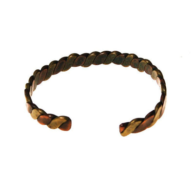 Braided Copper and Brass Cuff Bracelet by 1970s - Vintage Meet Modern Vintage Jewelry - Chicago, Illinois - #oldhollywoodglamour #vintagemeetmodern #designervintage #jewelrybox #antiquejewelry #vintagejewelry