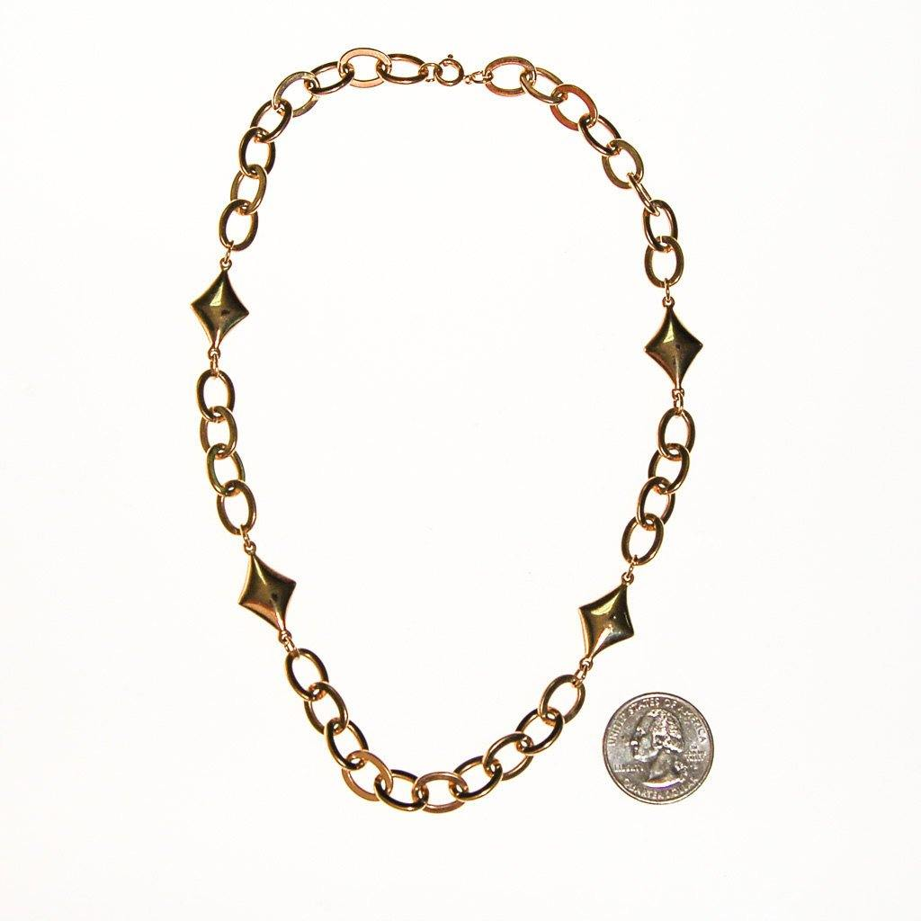 Gold Chain and Diamond Link Necklace - Vintage Meet Modern  - 3