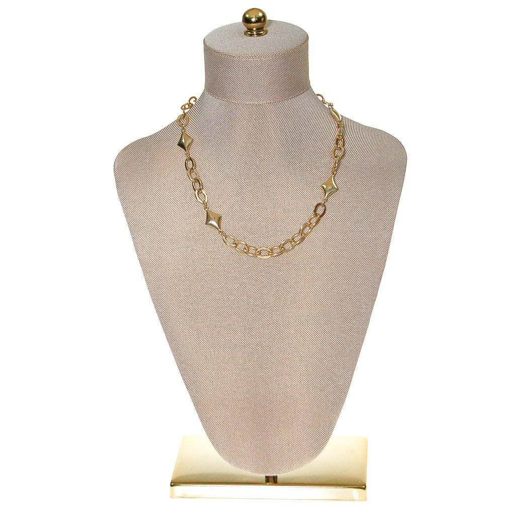 Gold Chain and Diamond Link Necklace - Vintage Meet Modern  - 1