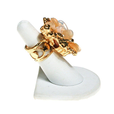 Brutalist Modern Peach Agate Statement Ring by Artisan Made - Vintage Meet Modern Vintage Jewelry - Chicago, Illinois - #oldhollywoodglamour #vintagemeetmodern #designervintage #jewelrybox #antiquejewelry #vintagejewelry