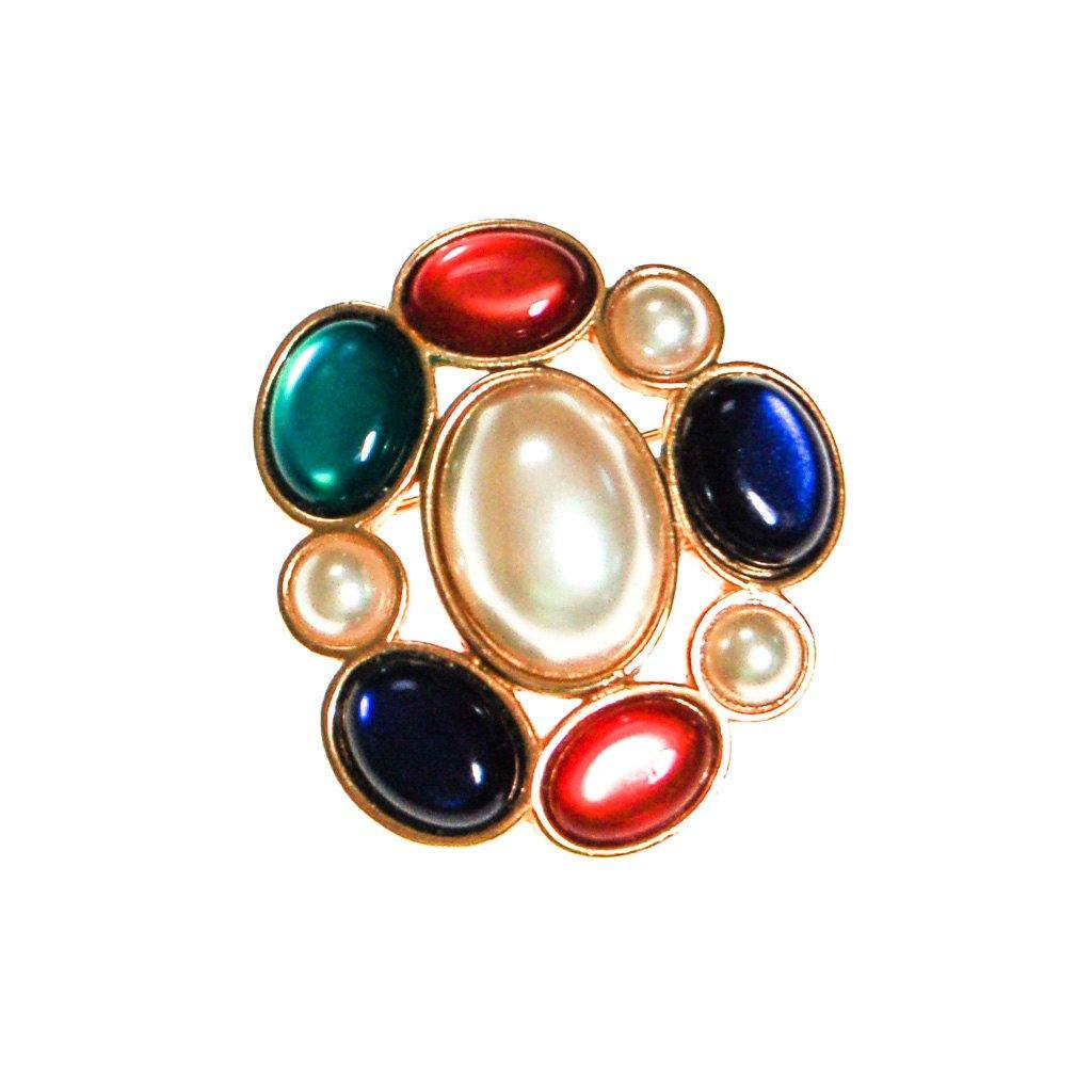 Royal Color and Pearl Cabochon Brooch by Avon - Vintage Meet Modern  - 3