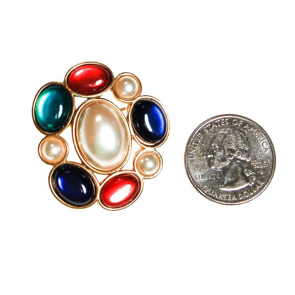 Royal Color and Pearl Cabochon Brooch by Avon - Vintage Meet Modern  - 2