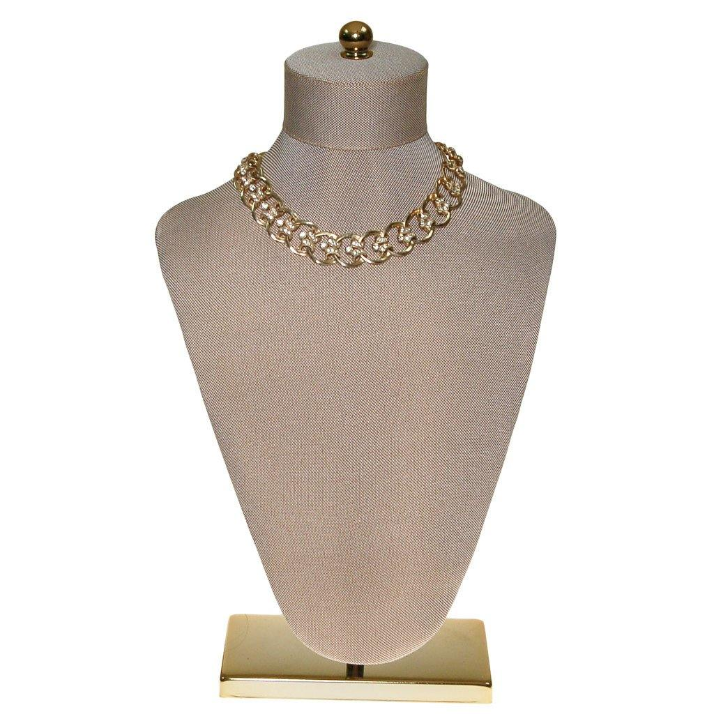 Gold Scroll Link Rhinestone Choker Necklace