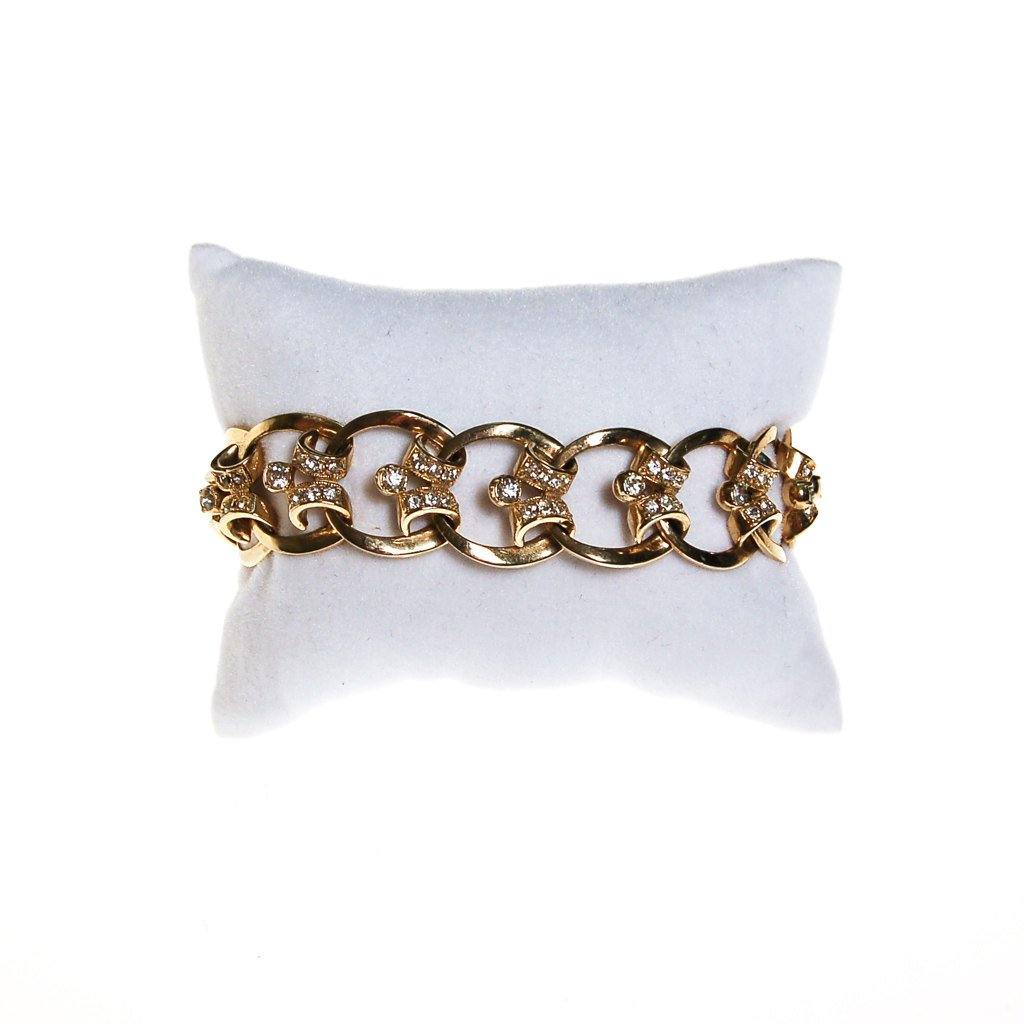 Gold Scroll Link Bracelet with Diamante Rhinestones