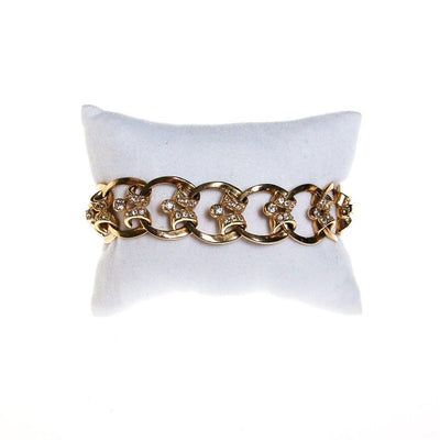 Gold Scroll Link Bracelet with Diamante Rhinestones by 1950s - Vintage Meet Modern Vintage Jewelry - Chicago, Illinois - #oldhollywoodglamour #vintagemeetmodern #designervintage #jewelrybox #antiquejewelry #vintagejewelry
