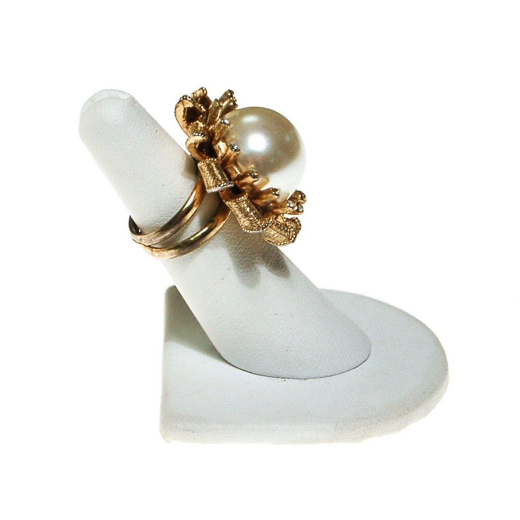 Pearl and Rhinestone Atomic Starburst Statement Ring - Vintage Meet Modern  - 4
