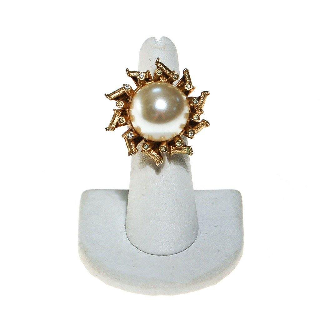 Pearl and Rhinestone Atomic Starburst Statement Ring - Vintage Meet Modern  - 3