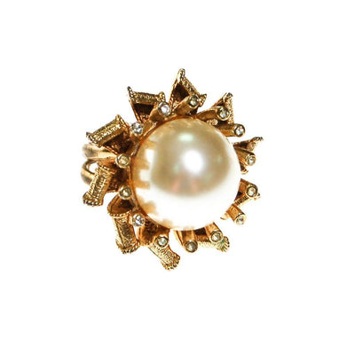 Pearl and Rhinestone Atomic Starburst Statement Ring by 1960s - Vintage Meet Modern - Chicago, Illinois