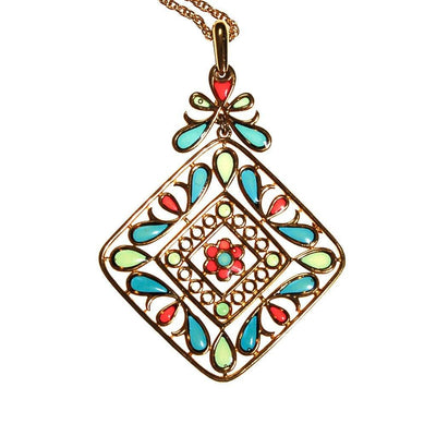 Plique a Jour Crown Trifari Pendant Necklace, Stained Glass, Emerald Green, Red, Blue, Collectible Designer Jewelry, 1960s by Crown Trifari - Vintage Meet Modern - Chicago, Illinois