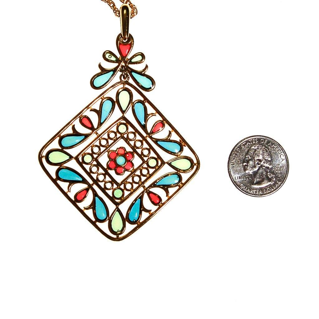 ... Plique a Jour Crown Trifari Pendant Necklace, Stained Glass, Emerald  Green, Red, ...