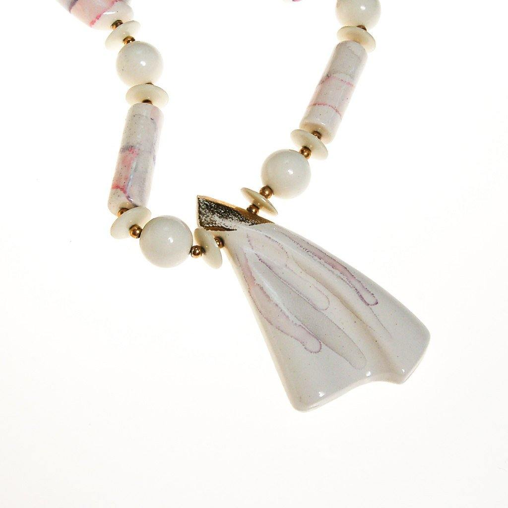 White Marble Abstract Statement Necklace, Necklace - Vintage Meet Modern