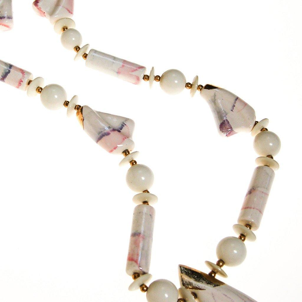 White Marble Abstract Statement Necklace - Vintage Meet Modern  - 3