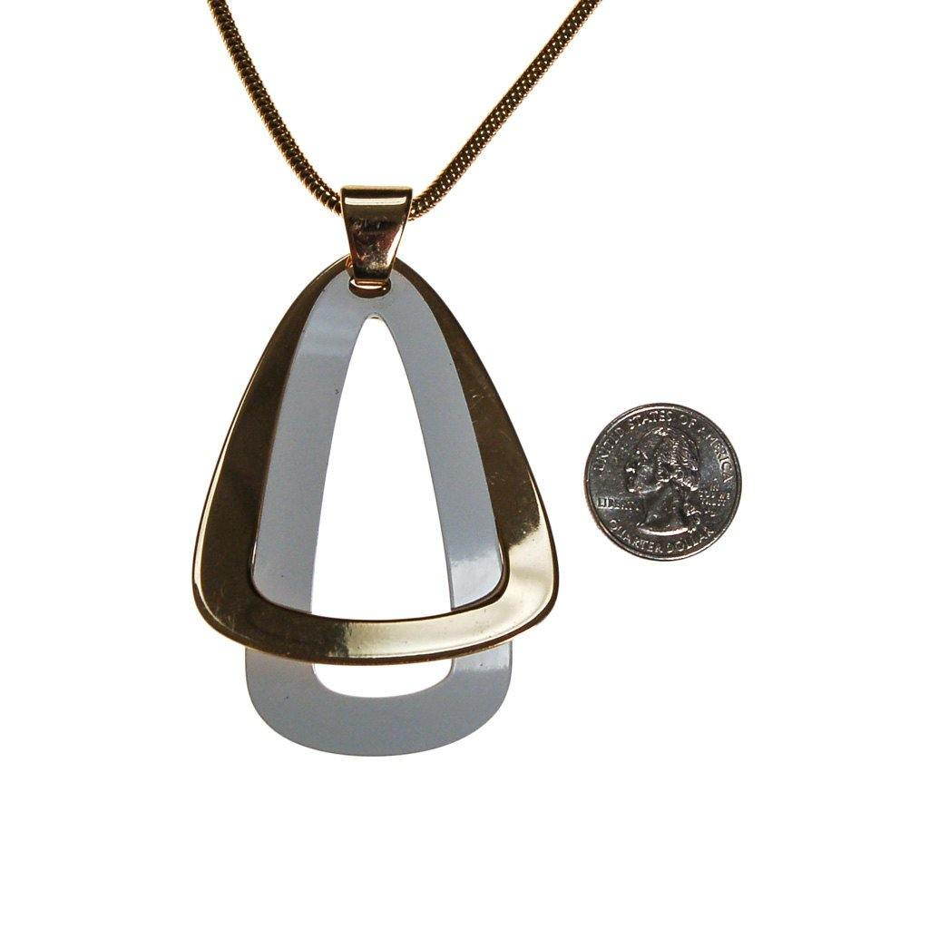 Napier White and Gold Modernist Pendant Necklace - Vintage Meet Modern  - 4