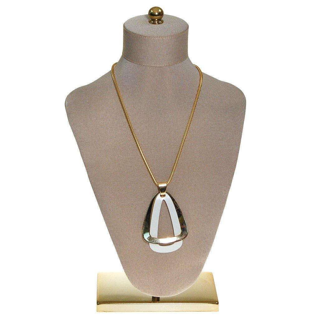 Napier White and Gold Modernist Pendant Necklace - Vintage Meet Modern  - 1