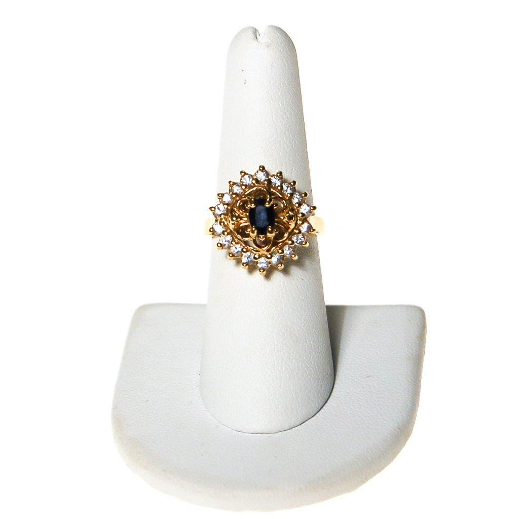 Sapphire and Cubic Zirconia Statement Ring - Vintage Meet Modern  - 1