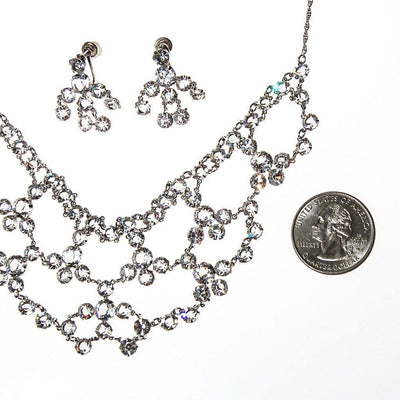 Art Deco Bezel Set Crystal Necklace & Earring Set by Art Deco - Vintage Meet Modern - Chicago, Illinois