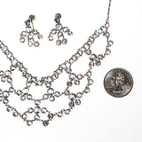 Art Deco Bezel Set Crystal Necklace and Earring Set - Vintage Meet Modern  - 4
