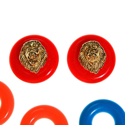 Kenneth Jay Lane Lions Head Earrings with Interchangeable Discs by Kenneth Jay Lane - Vintage Meet Modern Vintage Jewelry - Chicago, Illinois - #oldhollywoodglamour #vintagemeetmodern #designervintage #jewelrybox #antiquejewelry #vintagejewelry