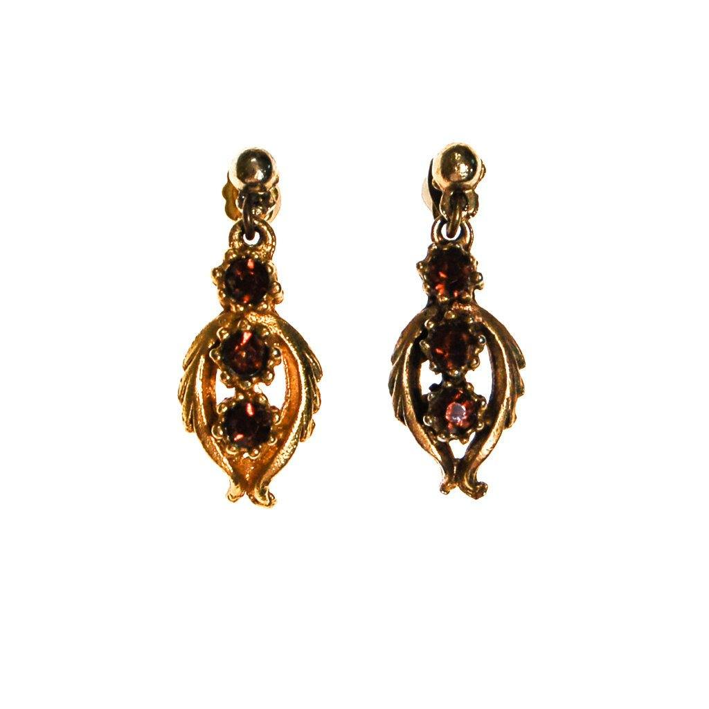 Amber Topaz Rhinestones Earrings - Vintage Meet Modern  - 2