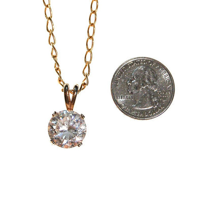 Huge CZ Solitaire Pendant Necklace set in Gold Tone by Unsigned Beauty - Vintage Meet Modern - Chicago, Illinois