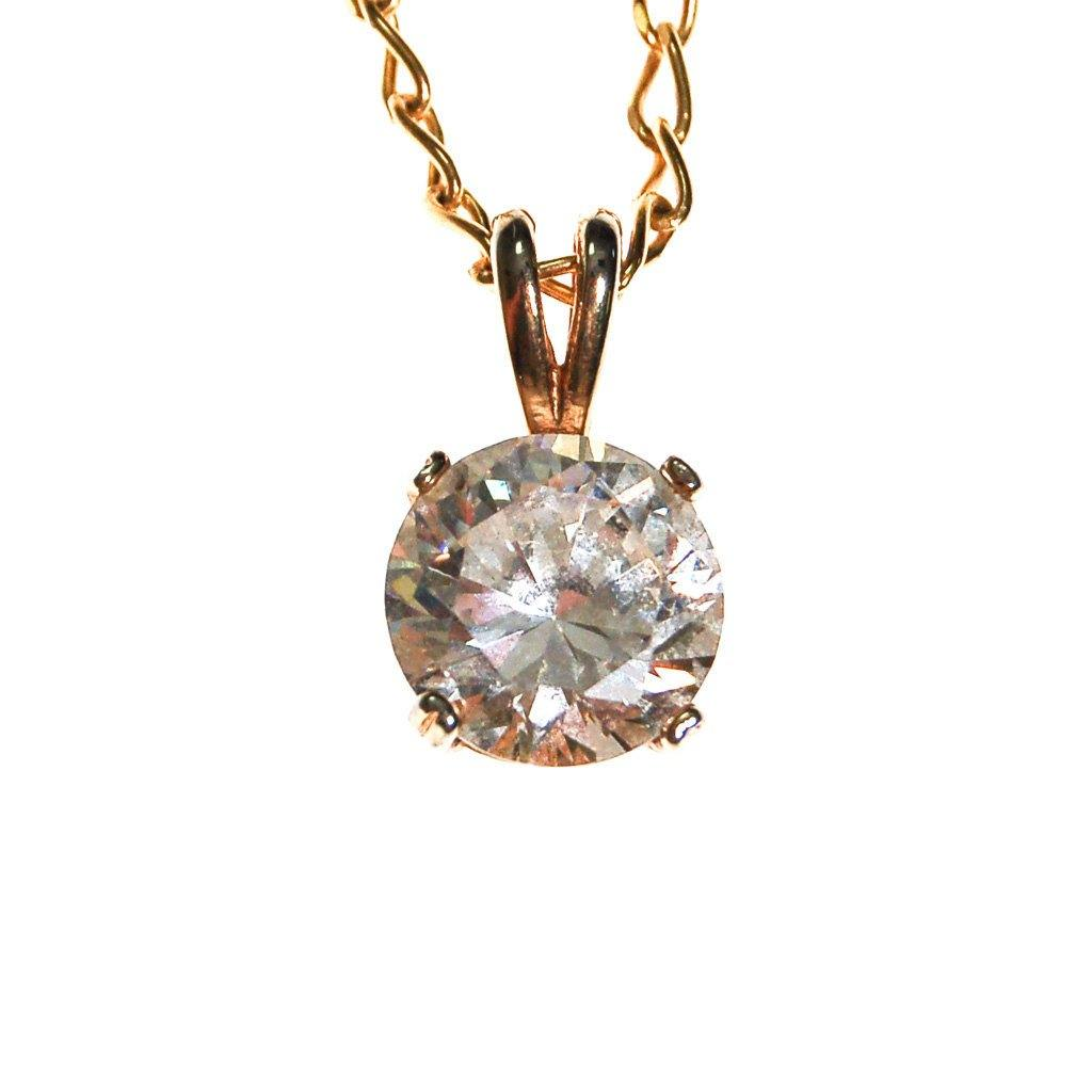 Huge CZ Solitaire Pendant Necklace set in Gold Tone - Vintage Meet Modern  - 1