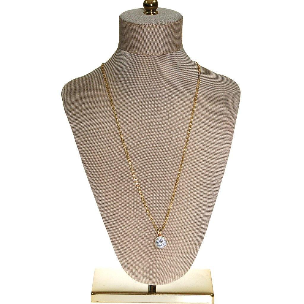 Huge CZ Solitaire Pendant Necklace set in Gold Tone - Vintage Meet Modern  - 4
