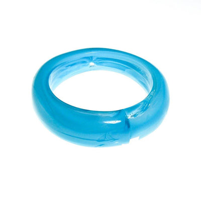 Blue and Clear Swirled Lucite Bangle Bracelet, Bracelet - Vintage Meet Modern