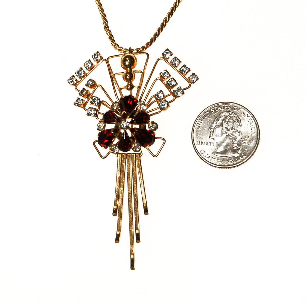 1940s M & S Gold Filled Red Garnet Crystal and Rhinestone Pendant Brooch Combination Necklace - Vintage Meet Modern  - 3