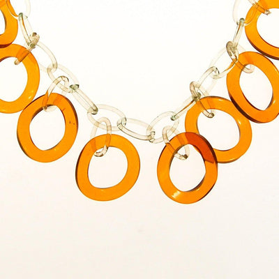 Clear and Butterscotch Lucite Link Necklace by 1920s 1930s - Vintage Meet Modern - Chicago, Illinois