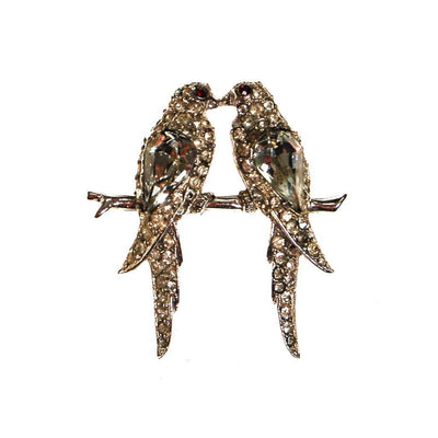 Rhinestone Love Bird Brooch by Unsigned Beauty - Vintage Meet Modern - Chicago, Illinois
