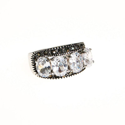 CZ and Marcasite Band Ring by 1980s - Vintage Meet Modern - Chicago, Illinois