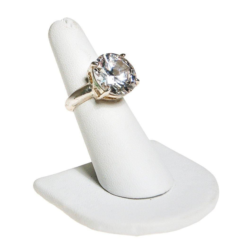 Massive CZ Solitaire Cocktail Statement Ring set in Silver Tone, Ring - Vintage Meet Modern