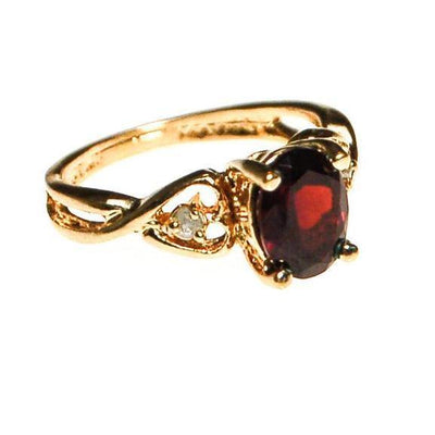 Garnet and CZ Ring with Heart Band by Garnet - Vintage Meet Modern Vintage Jewelry - Chicago, Illinois - #oldhollywoodglamour #vintagemeetmodern #designervintage #jewelrybox #antiquejewelry #vintagejewelry