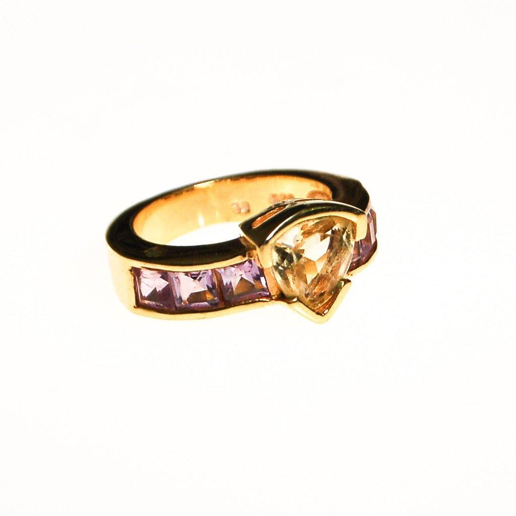 Citrine and Amethyst Semi Precious Gemstone Ring - Vintage Meet Modern  - 2