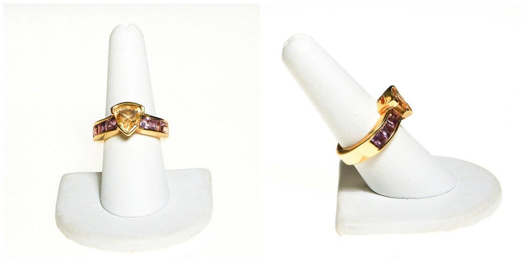 Citrine and Amethyst Semi Precious Gemstone Ring - Vintage Meet Modern  - 3