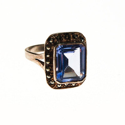Art Deco Blue Topaz Marcasite Sterling Silver Ring by Sterling Silver - Vintage Meet Modern Vintage Jewelry - Chicago, Illinois - #oldhollywoodglamour #vintagemeetmodern #designervintage #jewelrybox #antiquejewelry #vintagejewelry