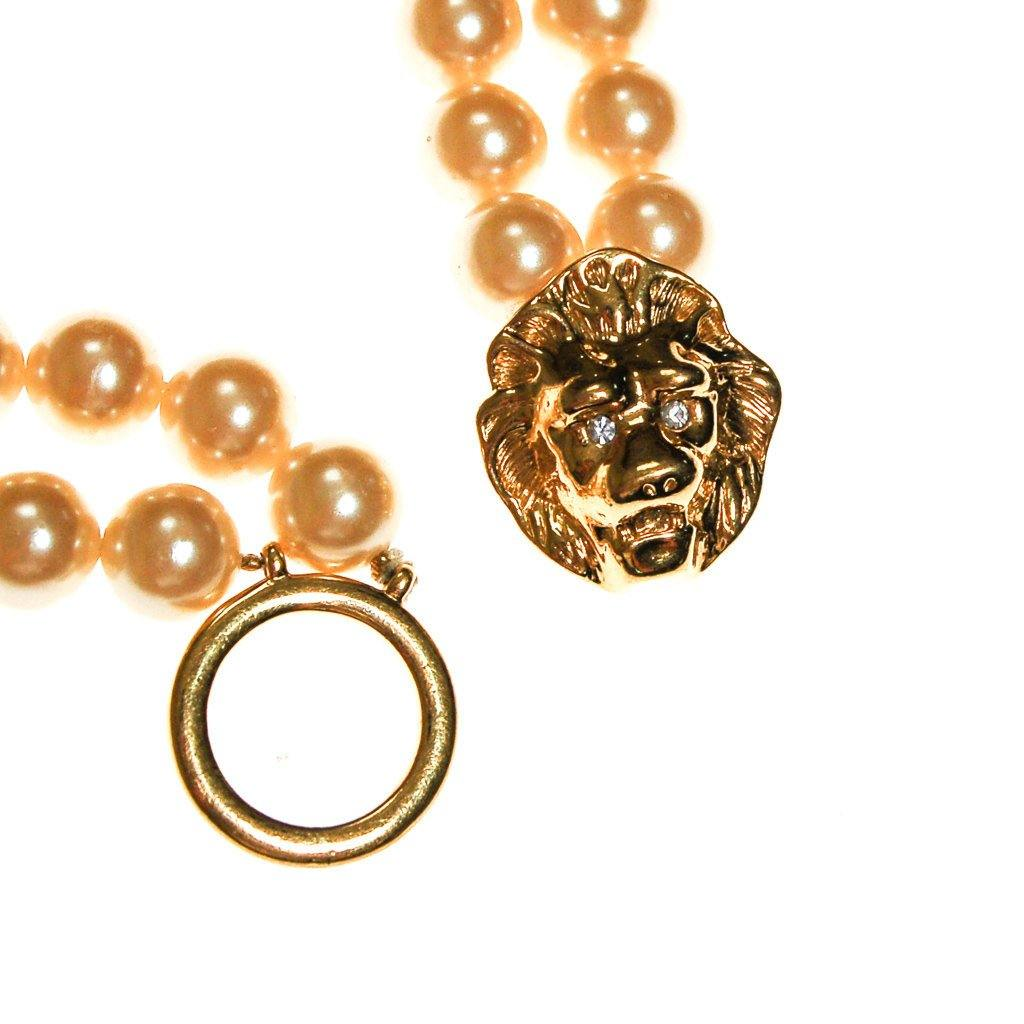 KJL for Avon Lions Head and Pearl Necklace - Vintage Meet Modern  - 3