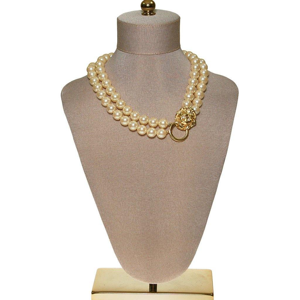 KJL for Avon Lions Head and Pearl Necklace - Vintage Meet Modern  - 1